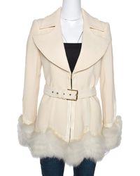 Roberto Cavalli Cream Wool Fox Fur Trim Belted Jacket - Natural