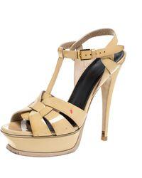Saint Laurent - Beige Patent Leather Tribute Platform Sandals - Lyst