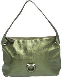 Ferragamo Metallic Green Leather Gancio Hobo
