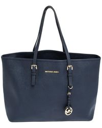 Michael Kors - Blue Leather Jet Set Travel Tote - Lyst
