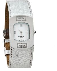Givenchy White Stainless Steel Silver Leather Expression 2 92438731 Quartz Wristwatch 29 Mm