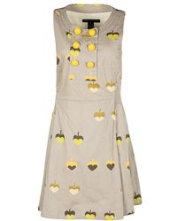 Marc By Marc Jacobs - Printed Cotton Tie Detail Double Breasted Sleeveless Dress S - Lyst