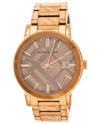 Burberry Bronze Rose Gold Plated Stainless Steel The City Bu9039 Men's Wristwatch 38 Mm - Metallic