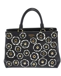 Moschino Black Floral Applique Leather Tote