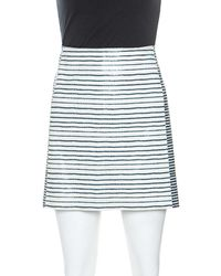 Tory Burch Bicolor Striped Leather Sorrel Skirt - White