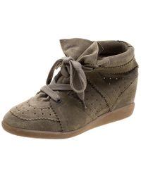 Isabel Marant - Khaki Suede Etoile Bobby Wedge Sneakers - Lyst