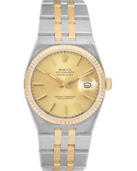 Rolex Champagne 18k Yellow Gold And Stainless Steel Oysterquartz Datejust 17013 Wristwatch 36 Mm - Metallic