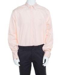 Ferragamo Orange And White Striped Cotton Long Sleeve Button Down Shirt Xxl