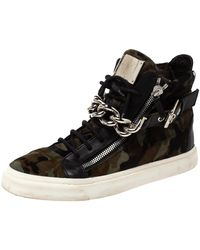 Giuseppe Zanotti Multicolor Camouflage Calf Hair Chain Embellished London High Top Sneakers - Black