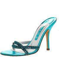 Gina Blue Crystal Embellished High Heel Slides