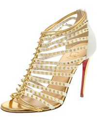 Christian Louboutin White And Gold Spiked Leather Millaclou Cage Sandals - Metallic