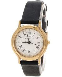 Tiffany & Co. White Gold Plated Portfolio Women's Wristwatch 25 Mm - Black