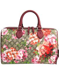 Gucci Pink Canvas Leather GG Supreme Blooms Boston Bag