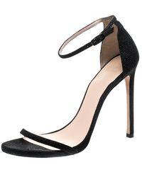 Stuart Weitzman Black Textured Leather Nudist Sandals