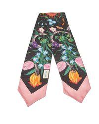 Gucci Black & Pink Flora Snake Print Silk Neck Bow