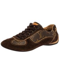 Louis Vuitton Brown Suede And Monogram Canvas Energie Low Top Sneakers