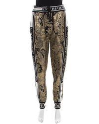 Dolce & Gabbana Gold Floral Brocade Knit Trim Jogger Pants - Metallic