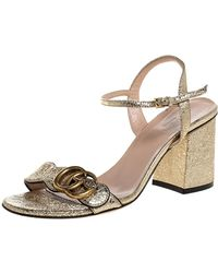 Gucci Metallic Gold Foil Leather Marmont Block Heel Ankle Strap Sandals