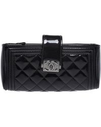 Chanel Black Quilted Patent Leather Iphone Pouch