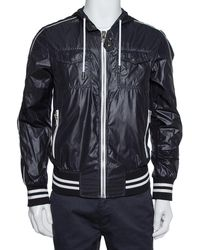 Dolce & Gabbana Black Synthetic Zip Front Hooded Jacket