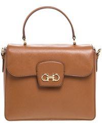 Ferragamo Tan Leather Double Gancio Top Handle Bag - Brown