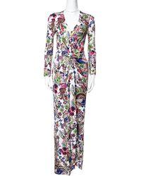 Roberto Cavalli Multicolour Floral Print Crepe Gathered Maxi Dress