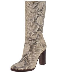 Chloé Chloé Two Tone Python Knee High Adelie Boots - Natural