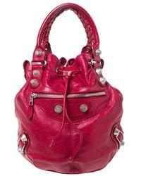 Balenciaga Sang Leather GGH 21 Pompon Hobo - Red