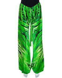 Roberto Cavalli Green Printed Silk Tassel Tie Detail Harem Pants