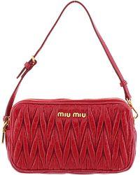 Miu Miu Red Leather Matelasse Mini Crossbody Bag