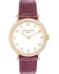 Patek Philippe Silver Diamonds 18k Rose Gold Calatrava 7200 Wristwatch 33 Mm - Metallic