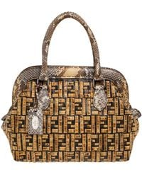 Fendi Beige/brown Zucca Coated Canvas, Rattan And Python Adele Satchel - Natural