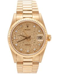 Rolex Champagne Dial 18k Yellow Gold Datejust Diamond Dial & Bezel Women's Watch 26mm - Metallic