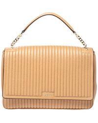DKNY Beige Pinstripe Quilted Leather Large Gansevoort Top Handle Bag - Natural