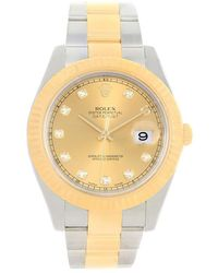 Rolex - Champagne 18k Yellow And Stainless Steel Datejust Men's Wristwatch 41mm - Lyst