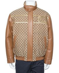 Gucci X Dapper Dan Bicolor Leather Logo Monogram Embellished Varsity Jacket - Brown