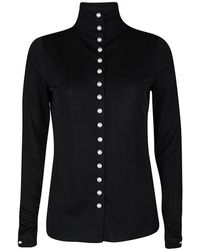 Chanel Pearl Embellished Button Detail Long Sleeve Blouse M - Black