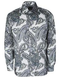 Etro - Off White Paisley Printed Cotton Long Sleeve Button Front Shirt L - Lyst