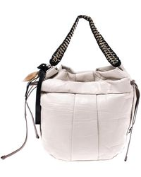 Marni Light Beige Leather Charms Chain Hobo - Natural