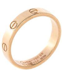 Cartier Love 18k Rose Gold Mini Band Ring Size 58 - Metallic