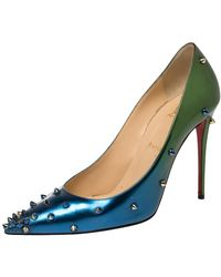 Christian Louboutin Blue/green Patent Leather Degraspike Ombre Pumps