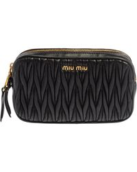Miu Miu Black Matelasse Leather Double Zip Camera Bag
