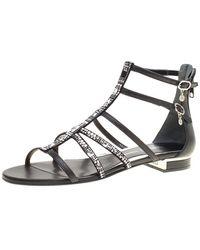 Loriblu Black Leather Crystal Embellished Gladiator Flat Sandals