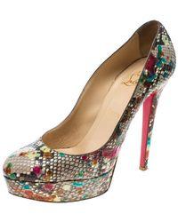 Christian Louboutin Multicolour Python Bianca Platform Court Shoes