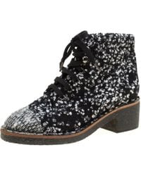 Chanel - Monochrome Tweed Fabric Fantasy Lace Up Ankle Boots - Lyst