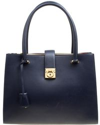 Ferragamo Navy Blue Leather Marlene Tote