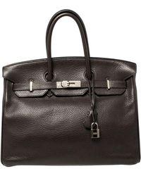 Hermès Cacao Clemence Leather Palladium Hardware Birkin 35 - Brown