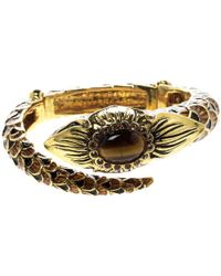Roberto Cavalli - Serpent Head Enamel Tone Detailed Open Cuff Bracelet - Lyst