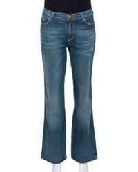 Roberto Cavalli Blue Medium Wash Denim Straight Leg Jeans