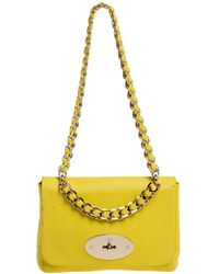 Mulberry Yellow Lizard Embossed Leather Shoulder Bag